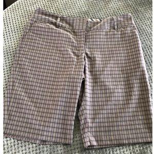 Adidas Pink Plaid Bermuda Shorts Size 14